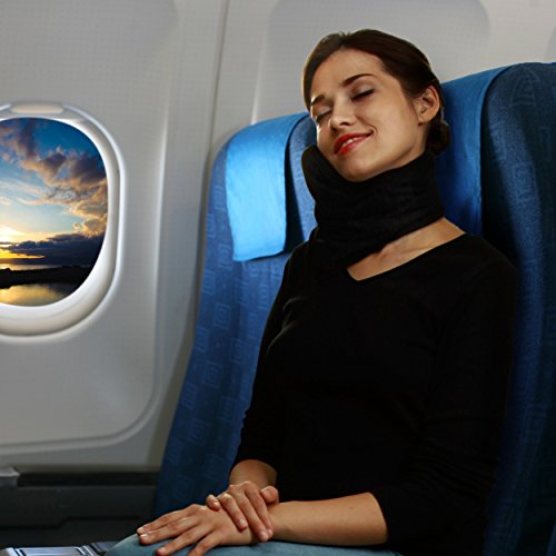 Travel Pillow Set : 100% Cotton Travel Neck Pillow with Memory Foam Support, Sleep Mask, Earplugs - Airplane Pillows - Flight Pillow Wrap for Sleeping Travel Accessories - Travel Essentials Black by Prokitline (Image #7)