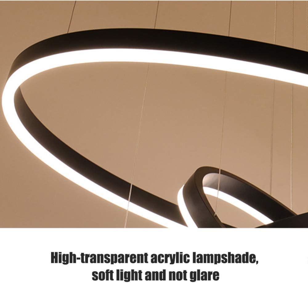 AIRUI Cercle Lustre LED 3 Anneaux Suspension Moderne Acrylique Orientable Lampe Suspendue Salon Table /à Manger Restaurant Plafonnier,Black+NeutralLight-20+40+60cm