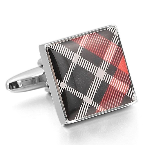 INBLUE Rhodium Cufflinks Checkered Business