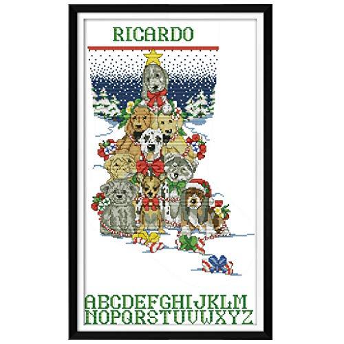 - lipiny Dog Christmas Stocking Counted 14CT DIY Embroidery Cross Stitch Kit Needlework Craft Home Decor