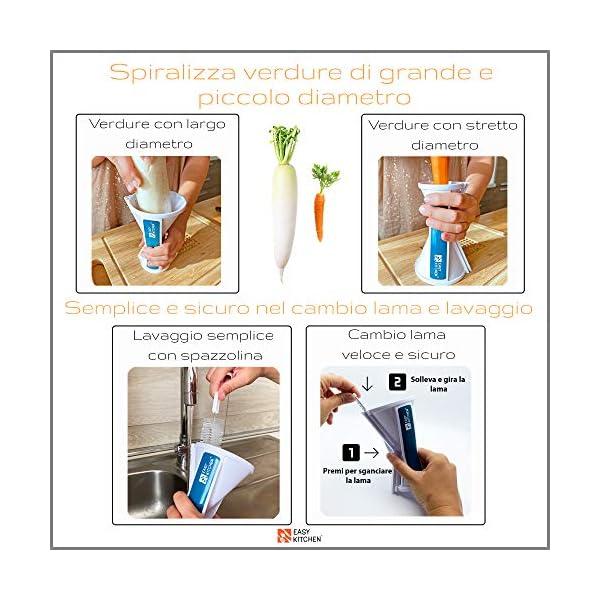 EasyKitchen Spiralizzatore di Verdure 2 Misure di Taglio con Ricettario Ebook e Guida Pratica 6