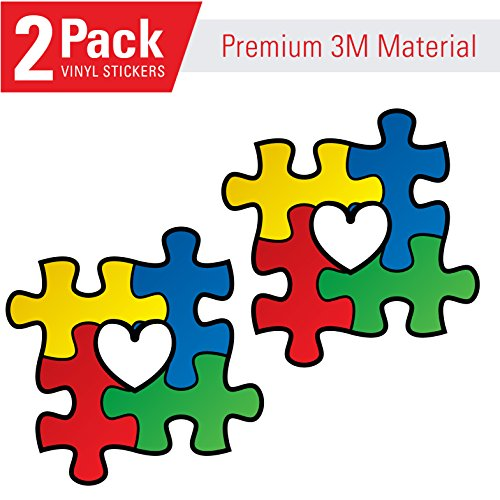 Love (2 Pack) Autism Awareness Puzzle Pieces with Heart Vinyl Sticker Decal (2) -