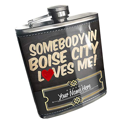 Neonblond Flask Somebody in Boise City Loves me,