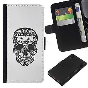 Be-Star la tarjeta de Crédito Slots PU Funda de cuero Monedero caso cubierta de piel Sony Xperia Z4v / Sony Xperia Z4 / E6508 ( Floral Art Skull Death Biker Tattoo Ink )