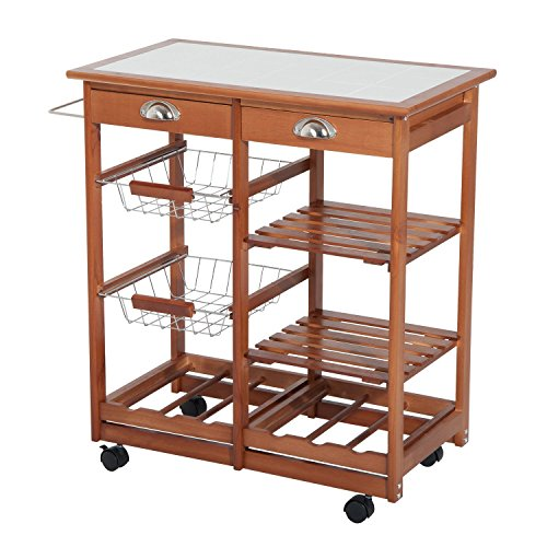 HOMCOM Rolling Tile Top Wooden Kitchen Trolley Microwave Cart with 6 Bottle Wine (Island Display Rack)