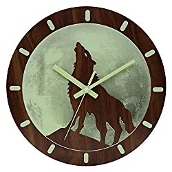 HENG DA SI Light Function Wall Clock Wood 12 Inch Silent Non-Ticking Battery Operated Indoor Clocks Modern Style for Kitchen Living Room Bedroom Office