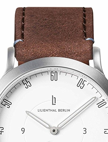 Lilienthal Berlin Watch - Made in Germany - Designed in Berlin. Model L1 with Stainless Steel Case (Size: 37.5 mm, Case: silver / Dial: white / Strap: brown) by Lilienthal Berlin (Image #1)
