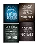 Quotes Motivational Inspirational Happiness Decorative Poster Print for Courage, Think You Can, Great Things, Victory, Persevering 8 x 10 Inch Set of 4