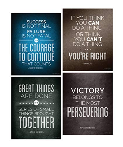 Historical Quote Motivational Posters; Success Wall Art Inspired by Famous Leaders and Thinkers, 8x10 Inch, Set of ()