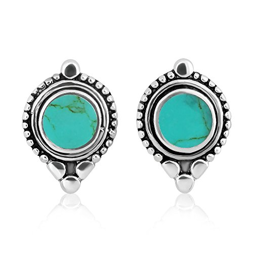 Oxidized Sterling Silver Rope Framed Round Blue Dyed Turquoise Gemstone Post Stud Earrings