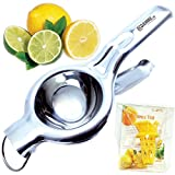 EcoJeannie LS0001 Professional Jumbo Stainless Steel Lemon and Lime Squeezer and Juicer with Free Citrus Tap, 9.25-Inch, Silver