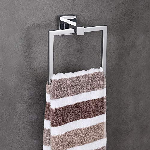 LUCKUP 4 Piece Bath Hardware Towel Bar Accessory, Includes Towel Bar, Robe Hook, Towel Ring, and Toilet Paper Holder, 304 Stainless Steel Wall Mounted,Polished Chrome … … by LUCKUP (Image #3)