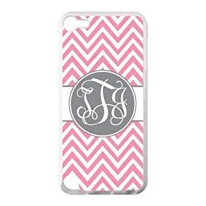 Monogram Personalized Pink Chevron Vs Grey Initials Pattern IPOD TOUCH 5 PVC Case/Cover New Fashion, Best Gift