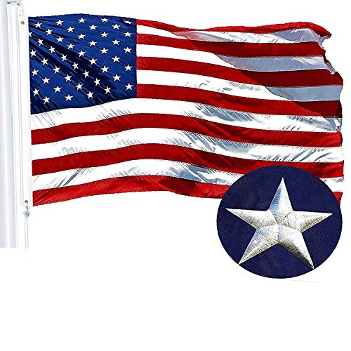 G128 - American USA US Flag 3x5 ft Embroidered Stars Sewn Stripes Brass -