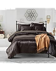HYSENM Zestaw pościeli, poszewka na poduszkę, 1 satyna, jednokolorowa, gładka, wygodna w różnych rozmiarach, fioletowa pościel (135 x 200 cm) + 1 x poszewka na poduszkę (50 x 75 cm)