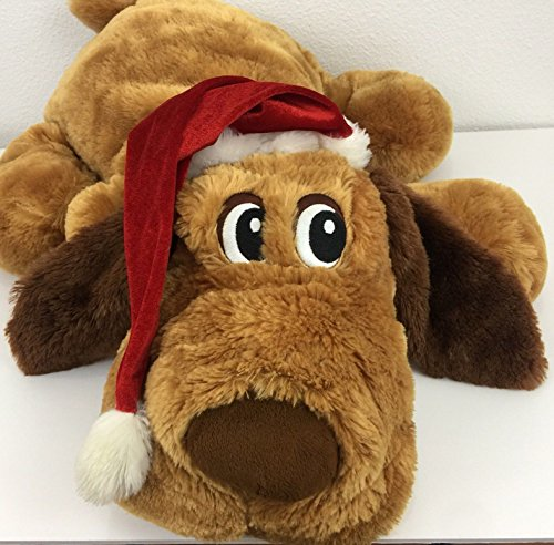 Dan Dee Large Plush Holiday Christmas Brown Dog / Puppy with Santa Hat - 25 Inch Snuggle Buddy Pillow ()