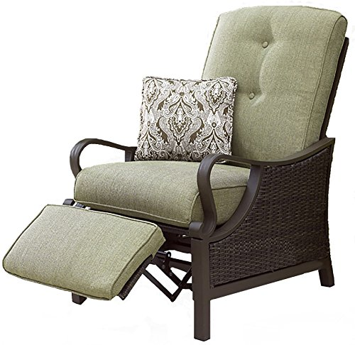 "Hanover VENTURAREC Ventura Recliner Outdoor Furniture, Vintage Meadow - SET INCLUDES:  One luxury recliner and coordinating accent pillow HEAVY DUTY STEEL FRAME: Powder coated steel to resist rust GENEROUS CUSHION SIZE: 5"" UV protected cushions offer maximum comfort while fashionable toss pillows are included to complete the style and enjoyment. - patio-furniture, patio-chairs, patio - 51GTOZTxknL -"
