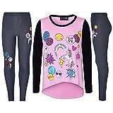 Emoji Outfits for Kids Girls Top Kids Unicorn Love Emojis Print T Shirt Tops & Jegging Set 7-13 Years