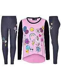 Girls Top Kids Unicorn Love Emojis Print T Shirt Tops & Jegging Set 7-13 Years
