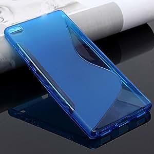Funda carcasa para HUAWEI P8 LITE GEL TPU Diseño S-Line Color AZUL