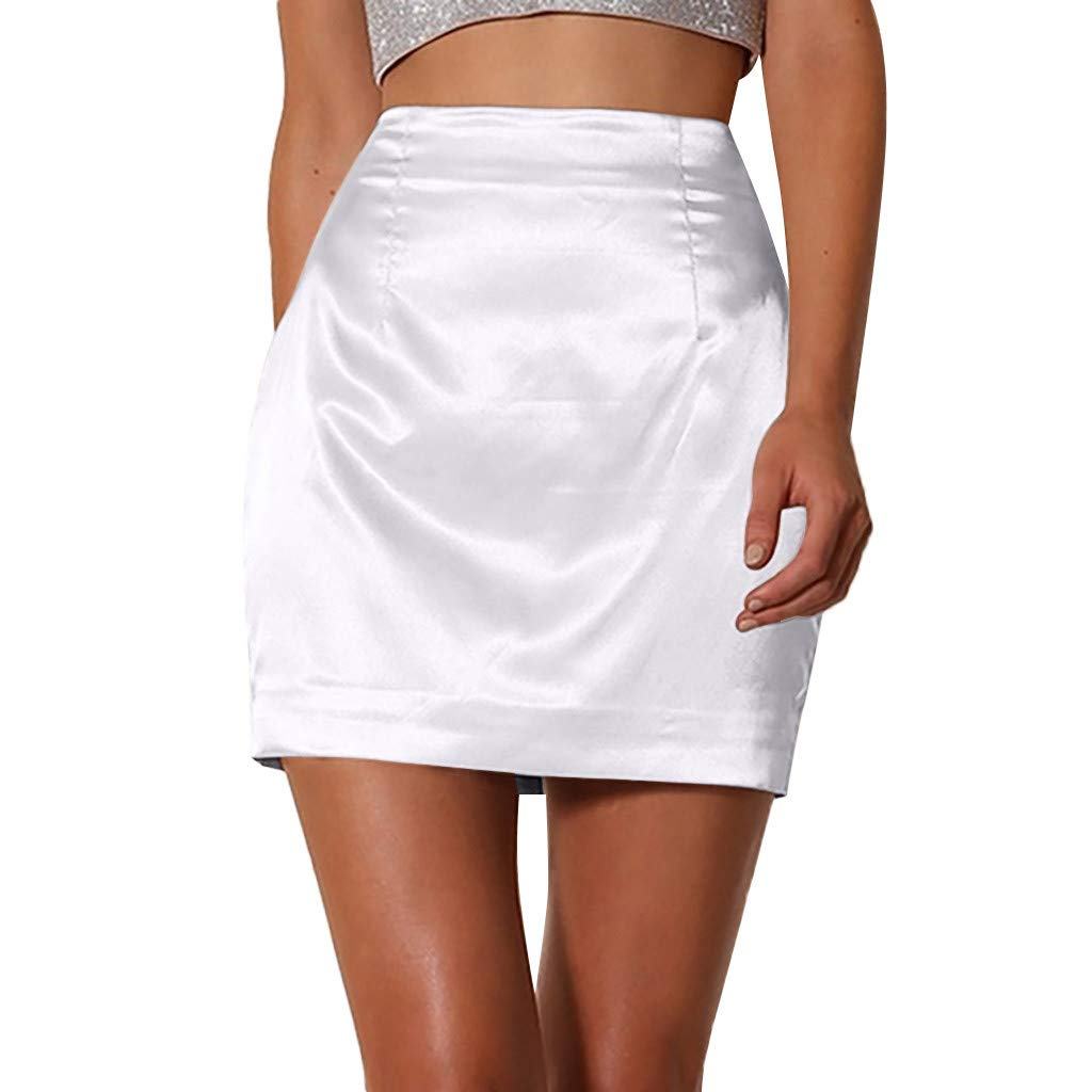 Womens Fashion Sexy Solid Satin Smooth Zipper Skirt White