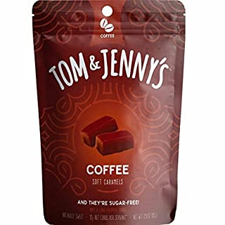 Tom & Jenny's Sugar Free Soft Caramel Candy with Sea Salt and Coffee - Low Net Carb Keto Diet (Moderate Keto Lifestyle) - with Xylitol and Maltitol - (Coffee Caramel, 1-pack)