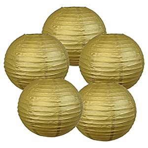 "Just Artifacts 10"" Gold Chinese Japanese Paper Lanterns (Set of 5) - Click for more Chinese/Japanese Paper Lantern Colors & Sizes!"