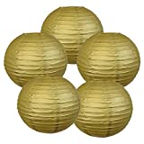 "Just Artifacts 12"" Gold Chinese Japanese Paper Lanterns (Set of 5) - Click for more Chinese/Japanese Paper Lantern Colors & Sizes!"