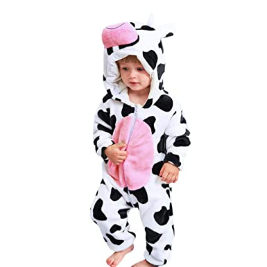 231fb0543092 Amazon.com  Lisin Newborn Baby Girl Boy Cartoon Animal Cow Hooded ...