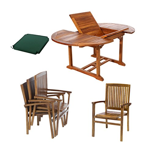 All Things Cedar TE70-24-G Teak Oval Extension Patio Table with Stacking Arm Chairs And Green Cushions, 5-Piece -