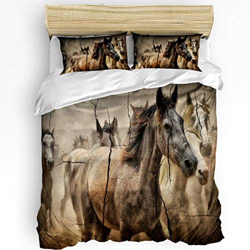 YEHO Art Gallery Twin Size Luxury 3 Piece Duvet Cover Sets for Boys Girls,Flocking Horses Painting on a Cracked Wall Bedding Set,Include 1 Comforter Cover with 2 Pillow Cases