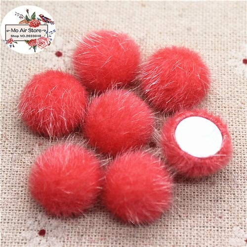 - Maslin 50pcs Mix Color Flatback Hairy Fabric Covered Round high cabochon Buttons Home Garden Crafts Cabochon Scrapbooking DIY 16mm - (Color: Watermelon red 50pcs)