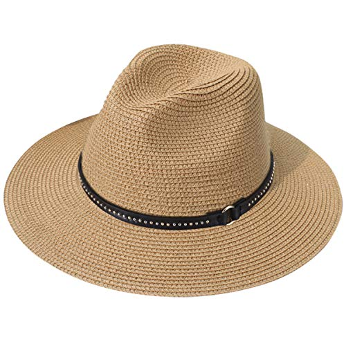 Lanzom Women Wide Brim Straw Panama Roll up Hat Fedora Beach Sun Hat UPF50+ (X-Brown)