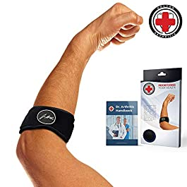 Elbow Strap / Support / Brace for Tennis & Golfer's Elbow & Doctor Written Rehabilitation Handbook – Forearm Strap, Left…