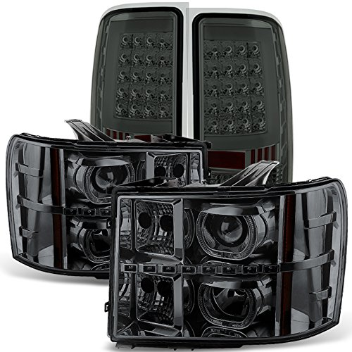 For [Dual LED Halo Ring] 07-13 Sierra Pickup Truck Smoked Projector Headlights + LED Tail light Combo