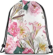 Beautiful pink lily flowers and roses Backpack Youth Drawstring Bag Beach Travel Gym Bags