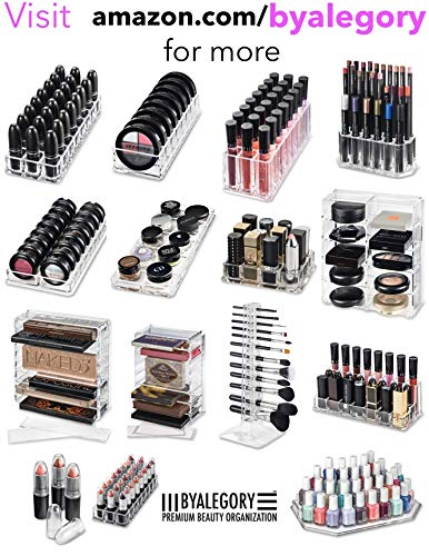 byAlegory (Limited Offer Gift Set) Acrylic Lipstick & Acrylic Lip Gloss Organizer | 48 Space Cosmetic Storage (CLEAR)