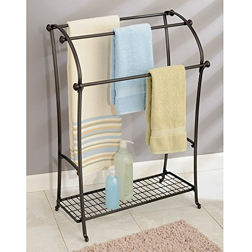 Interdesign York Lyra Free Standing Floor Towel Holder Bathroom Towel Drying Stand Bronze