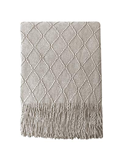 """Bourina Textured Solid Soft Sofa Throw Couch Cover Knitted Decorative Blanket, 60"""" x 80"""",Beige"""