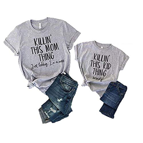 Mommy and Me Matching Letter Print T Shirt Family Matching Short Sleeve Casual Tee Blouse (Kid, 3-4T)