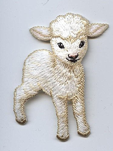 Baby Lamb Iron on Embroidered Patch - Lamb Applique