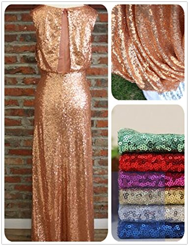 QueenDream Rose Gold Sequin Fabric 4 Yards Rose Gold Christmas Sequin Fabric Sequins Tablecloth Long Sequin Tablecloth DIY Party Dress Fabric