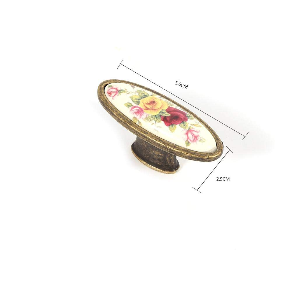 1# European Antique Style Door Drawer Handle Closet Dress Knob Pulls Handles for European Pastoral Applique Furniture Wardrobe Zetiling Ceramic Bronze Door Handle