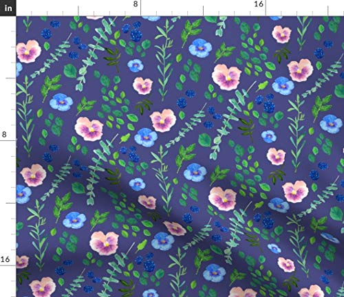 Spoonflower Summer Botanical Fabric - Botanical Flowers Floral Garden Indigo Baby Girl Nursery Decor by Canigrin Printed on Petal Signature Cotton Fabric by The Yard