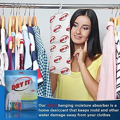 .com - [3pk] Hanging Moisture Absorber, Odor Absorber & Home Dehumidifier for Bedroom Closet, Shoe Storage, Bathroom Cabinet, Basement, Garage - Moisture & Odor Eliminator for Protection Against Mildew -