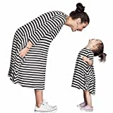 Yoyorule Mother and Daughter Striped Long Sleeve Dress Casual Family Dress (Mom)