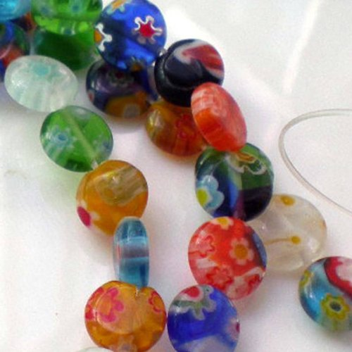 Beading Station 50-Piece Mix Millefiori Lampwork Glass Coin Beads, - Coin Beads Glass Lampwork