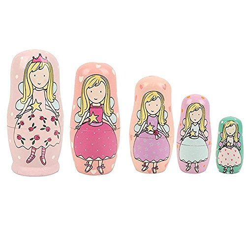 5pcs Hand Painted Pink Angel Wooden Russian Nesting Dolls - 4