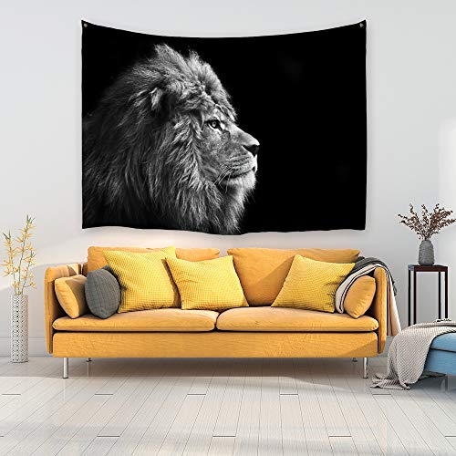 PROCIDA Home Wall Hanging Nature Art Polyester Fabric Lion Theme Tapestry, Wall Decor for Dorm Room, Bedroom, Living Room, Nail Included - 80