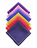 JEMYGINS 6PCS Red Yellow Pink Blue Silk Pocket Squares for Men Handkerchief Hanky Set (1)